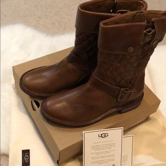 c6e9c5dba32 NWT brown leather UGG Moto boots with buckle sz 8
